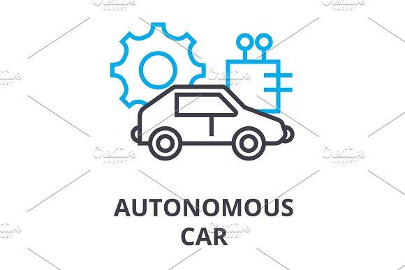 Autonomous Car Thin Line Icon Sign Symbol Illustation Linear Concept Vector