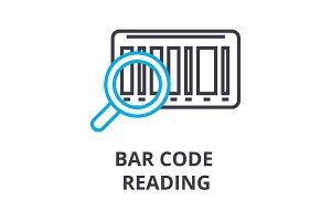 bar code reading thin line icon, sign, symbol, illustation, linear concept, vector