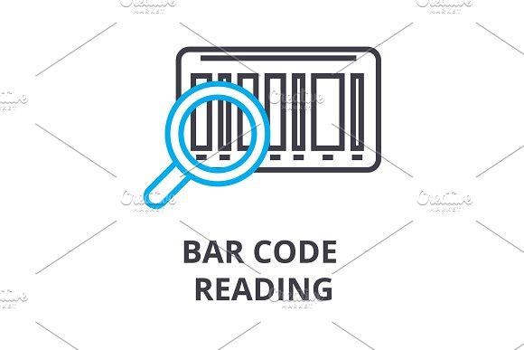bar code reading thin line icon, sign, symbol, illustation, linear concept, vector