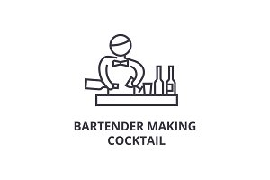 bartender making cocktail thin line icon, sign, symbol, illustation, linear concept, vector