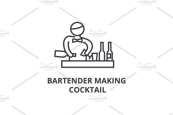 bartender making cocktail thin line icon, sign, symbol, illustation, linear concept, vector