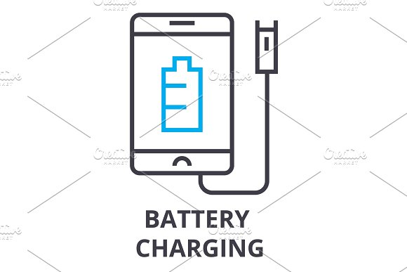battery charging thin line icon, sign, symbol, illustation, linear concept, vector