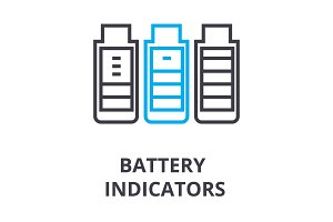 battery indicators thin line icon, sign, symbol, illustation, linear concept, vector
