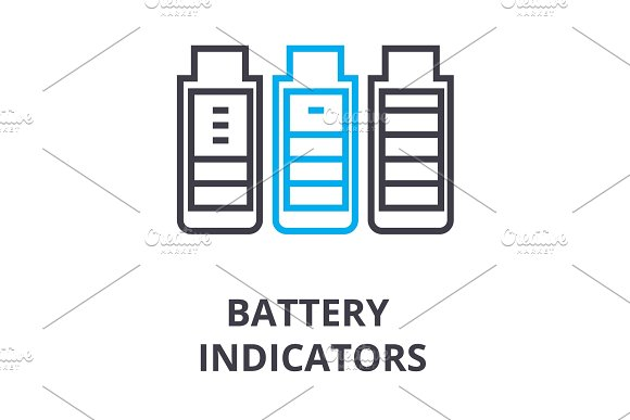 Battery Indicators Thin Line Icon Sign Symbol Illustation Linear Concept Vector