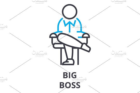 Big Boss Thin Line Icon Sign Symbol Illustation Linear Concept Vector