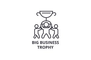 big business trophy thin line icon, sign, symbol, illustation, linear concept, vector