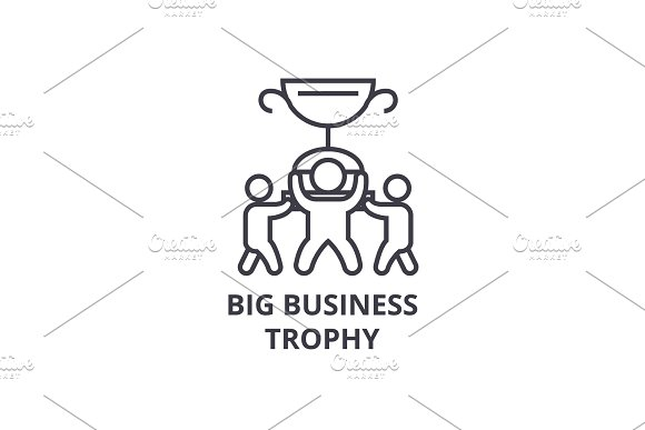 Big Business Trophy Thin Line Icon Sign Symbol Illustation Linear Concept Vector