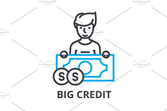 Big Credit Thin Line Icon Sign Symbol Illustation Linear Concept Vector
