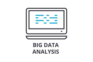 big data analysis thin line icon, sign, symbol, illustation, linear concept, vector