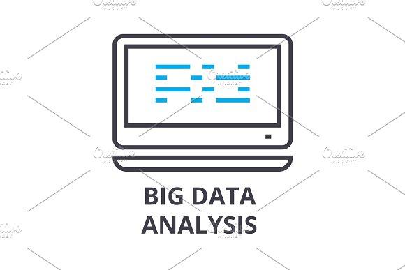 big data analysis thin line icon, sign, symbol, illustation, linear concept, vector