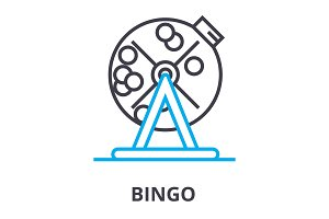 bingo thin line icon, sign, symbol, illustation, linear concept, vector