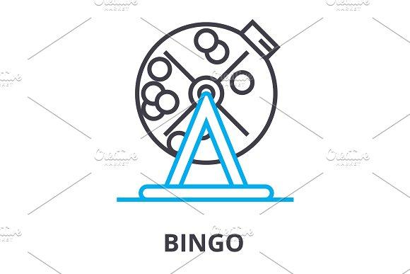 bingo thin line icon, sign, symbol, illustation, linear concept, vector