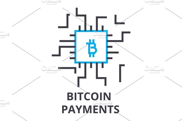 bitcoin payments thin line icon, sign, symbol, illustation, linear concept, vector  in Illustrations