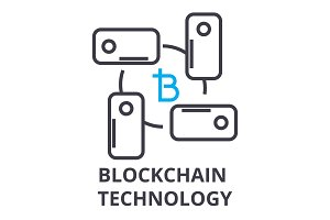 blockchain technology thin line icon, sign, symbol, illustation, linear concept, vector