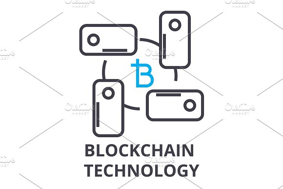 Blockchain Technology Thin Line Icon Sign Symbol Illustation Linear Concept Vector