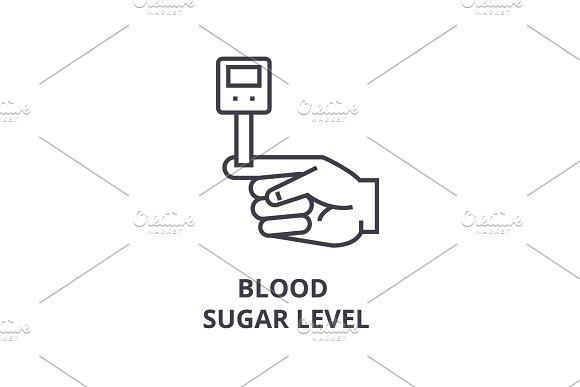 Blood Sugar Level Thin Line Icon Sign Symbol Illustation Linear Concept Vector