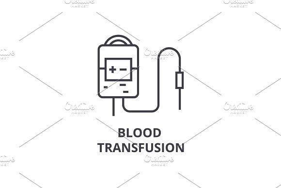 Blood Transfusion System Thin Line Icon Sign Symbol Illustation Linear Concept Vector