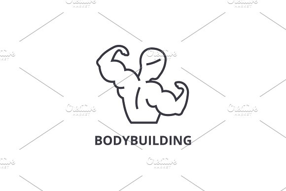 Bodybuilding Thin Line Icon Sign Symbol Illustation Linear Concept Vector