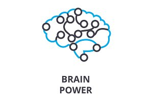 brain power thin line icon, sign, symbol, illustation, linear concept, vector