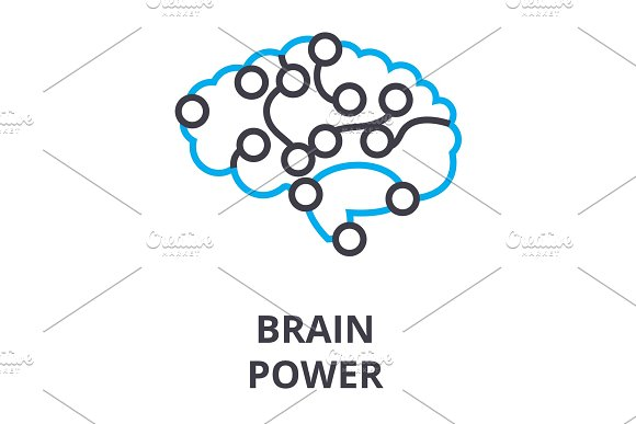 Brain Power Thin Line Icon Sign Symbol Illustation Linear Concept Vector