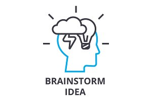 brainstorming idea thin line icon, sign, symbol, illustation, linear concept, vector