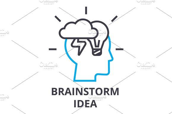 Brainstorming Idea Thin Line Icon Sign Symbol Illustation Linear Concept Vector