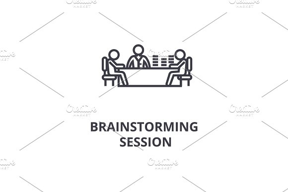 Brainstorming Session Thin Line Icon Sign Symbol Illustation Linear Concept Vector