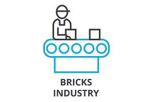 bricks industry thin line icon, sign, symbol, illustation, linear concept, vector