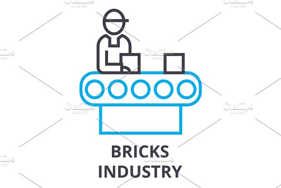Bricks Industry Thin Line Icon Sign Symbol Illustation Linear Concept Vector