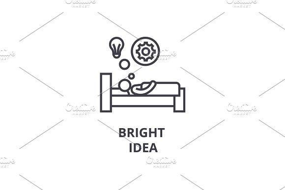 Bright Idea In Bed Thin Line Icon Sign Symbol Illustation Linear Concept Vector