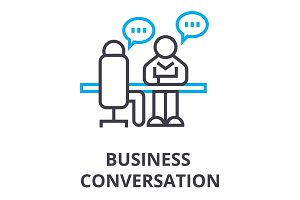 business conversation thin line icon, sign, symbol, illustation, linear concept, vector