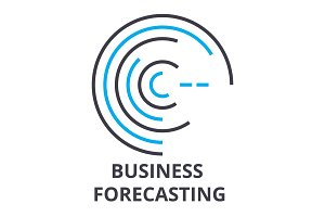 business forecasting thin line icon, sign, symbol, illustation, linear concept, vector