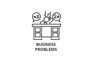 business problems thin line icon, sign, symbol, illustation, linear concept, vector