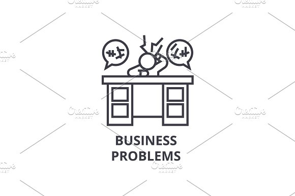 Business Problems Thin Line Icon Sign Symbol Illustation Linear Concept Vector
