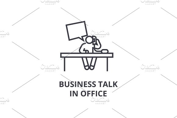 Business Talk In Office Thin Line Icon Sign Symbol Illustation Linear Concept Vector