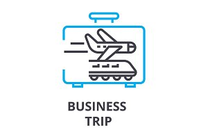 business trip thin line icon, sign, symbol, illustation, linear concept, vector