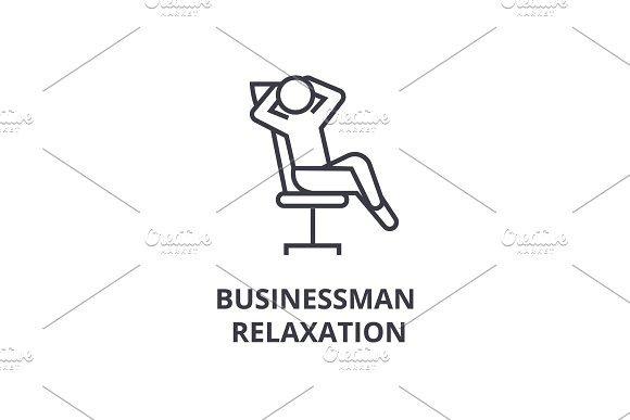 Businessman Relaxation Thin Line Icon Sign Symbol Illustation Linear Concept Vector