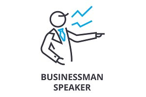 businessman speaker thin line icon, sign, symbol, illustation, linear concept, vector