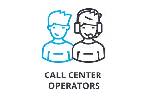 call center operators thin line icon, sign, symbol, illustation, linear concept, vector