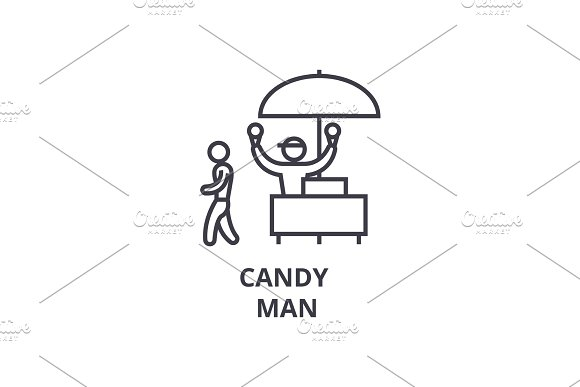 Candy Man Thin Line Icon Sign Symbol Illustation Linear Concept Vector