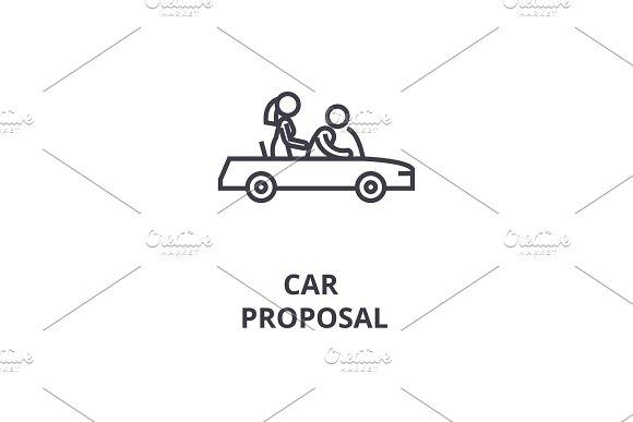 Car Proposal Thin Line Icon Sign Symbol Illustation Linear Concept Vector