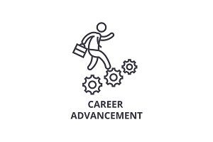career advancement thin line icon, sign, symbol, illustation, linear concept, vector