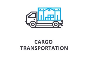 cargo transportation thin line icon, sign, symbol, illustation, linear concept, vector