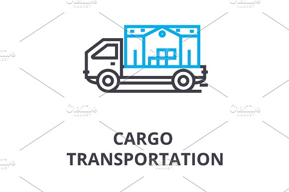 Cargo Transportation Thin Line Icon Sign Symbol Illustation Linear Concept Vector