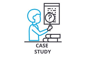 case study thin line icon, sign, symbol, illustation, linear concept, vector