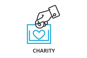 charity thin line icon, sign, symbol, illustation, linear concept, vector