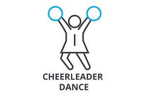 cheerleader dance thin line icon, sign, symbol, illustation, linear concept, vector