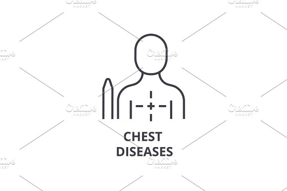 Chest Diseases Thin Line Icon Sign Symbol Illustation Linear Concept Vector
