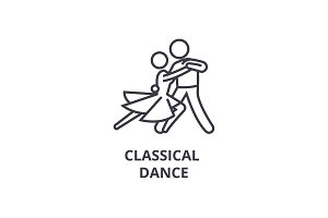 classical dance thin line icon, sign, symbol, illustation, linear concept, vector