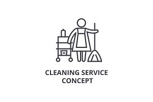 cleaning service concept thin line icon, sign, symbol, illustation, linear concept, vector